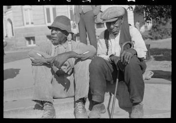 Lee, Russell, photographer. Old Negro men, Marshall, Texas. Marshall Texas, 1939. Apr. Photograph. Retrieved from the Library of Congress, https://www.loc.gov/item/fsa1997025782/PP/. (Accessed November 06, 2017.)