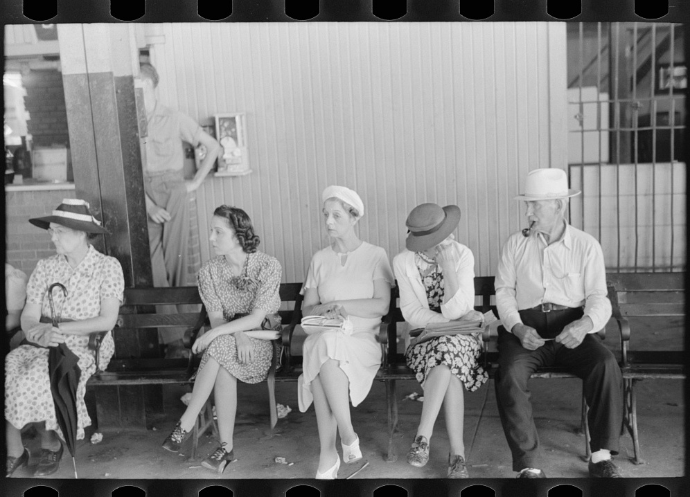 Russell Lee, photographer. People waiting for streetcars at terminal in Oklahoma City, Oklahoma. Oklahoma Oklahoma City, 1939. July. Photograph. Retrieved from the Library of Congress, https://www.loc.gov/item/fsa1997026712/PP/. (Accessed November 01, 2017.)