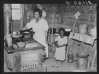 Russell Lee, photographer. Southeast Missouri Farms. Kitchen in shack from which client will be moved. La Forge project, Missouri. La Forge Missouri New Madrid County, 1938. May. Photograph. Retrieved from the Library of Congress, https://www.loc.gov/item/fsa2000012325/PP/. (Accessed October 29, 2017.)