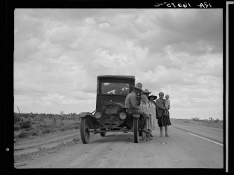 Lange, Dorothea, photographer. Three related Oklahoma drought refugee families near Lordsburg, New Mexico. Hidalgo County Lordsburg New Mexico, 1937. May. Photograph. Retrieved from the Library of Congress, https://www.loc.gov/item/fsa2000001101/PP/. (Accessed November 03, 2017.)