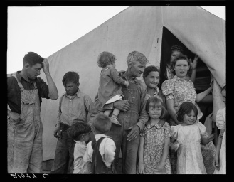 """Dorothea Lange, photographer. In Farm Security Administration FSA migrant labor camp during pea harvest. Family from Oklahoma with eleven children. Father, eldest daughter and eldest son working. She: """"I want to go back to where we can live happy, live decent, and grow what we eat."""" He: """"I've made my mistake and now we can't go back. I've got nothing to farm with."""" Brawley, Imperial County, California. Brawley California Imperial County United States, 1939. Feb. Photograph. Retrieved from the Library of Congress, https://lccn.loc.gov/2017773450. (Accessed November 02, 2017.)"""
