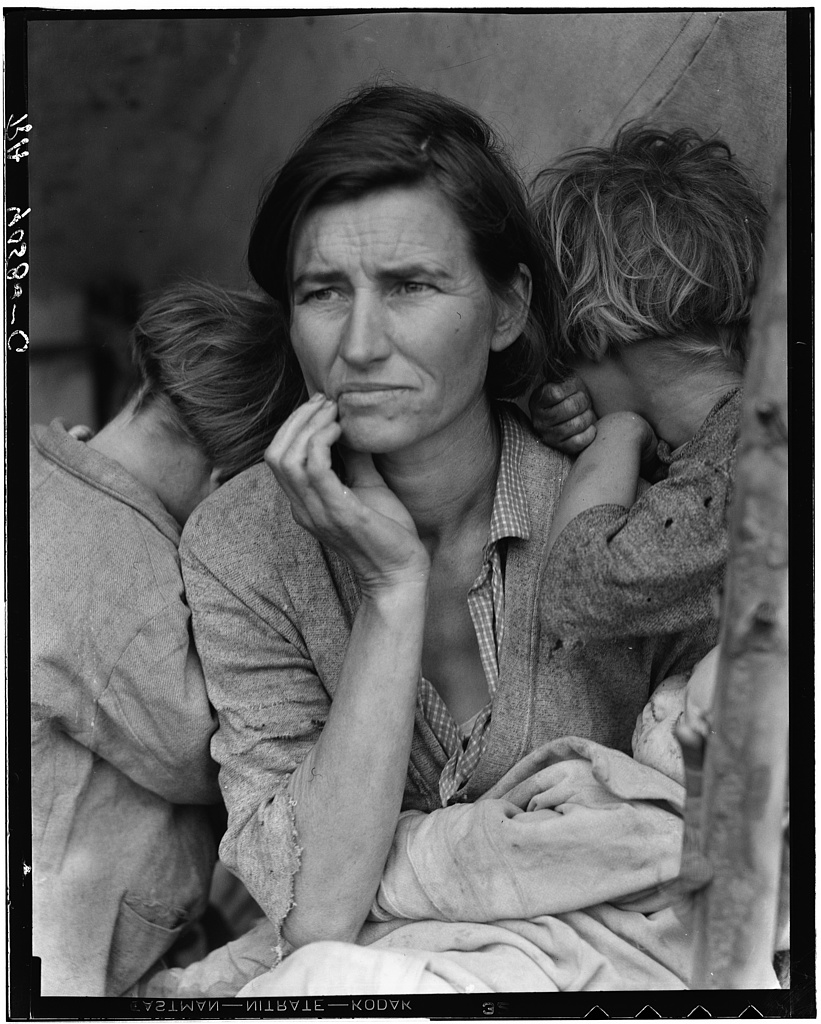 Migrant Mother, or Destitute pea pickers in California. Mother of seven children. Age thirty-two. Nipomo, California, Dorothea Lange, 1936