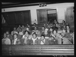 Russell Lee, photographer. Meeting of UCAPAWA United Cannery, Agricultural, Packing, and Allied Workers of America in Bristow, Oklahoma. Bristow Creek County Oklahoma, 1940. Feb. Photograph. Retrieved from the Library of Congress, https://www.loc.gov/item/fsa2000016405/PP/. (Accessed November 02, 2017.)