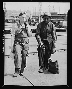 Arthur S. Siegel, photographer. Baltimore, Maryland. Bethlehem-Fairfield shipyards. Negro and white shipyard workers. Baltimore Maryland, 1943. May. Photograph. Retrieved from the Library of Congress, https://www.loc.gov/item/2017853285/. (Accessed November 02, 2017.)